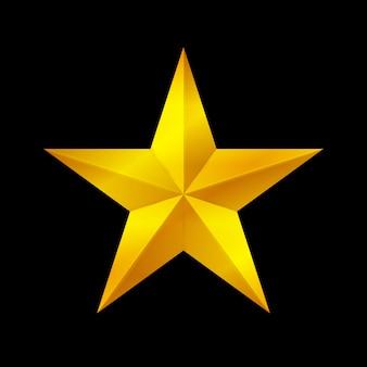 Forme d'étoile d'or isolée sur fond noir