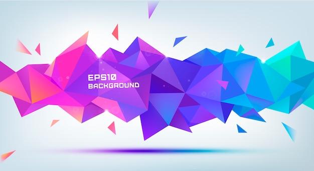 Forme de facette 3d géométrique abstraite. utilisez pour les bannières, web, brochure, publicité, affiche, etc. fond de style moderne low poly. violet, multicolore