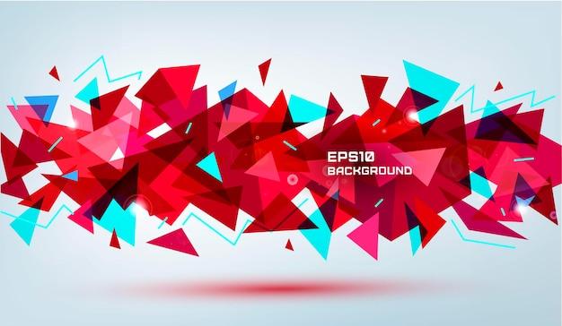 Forme de facette 3d géométrique abstraite de vecteur isolé. utiliser pour les bannières, le web, la brochure, la publicité, l'affiche, etc. fond de style moderne low poly. rouge, multicolore