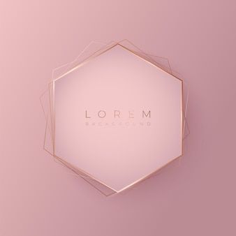 Forme de fond 3d hexagonale rose tendre avec cadre doré, illustration vectorielle
