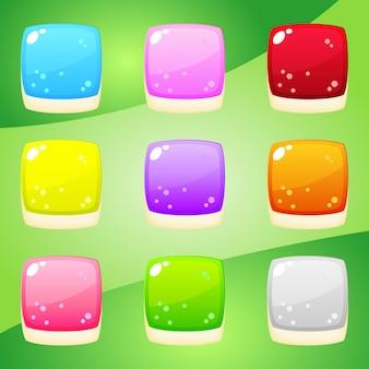 Forme de gelée carrée de neuf couleurs pour les jeux de réflexion.