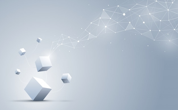 Forme géométrique abstraite et connexion avec des cubes 3d sur le fond.