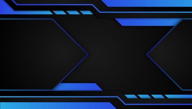 Forme géométrique bleue abstraite sur fond sombre sport