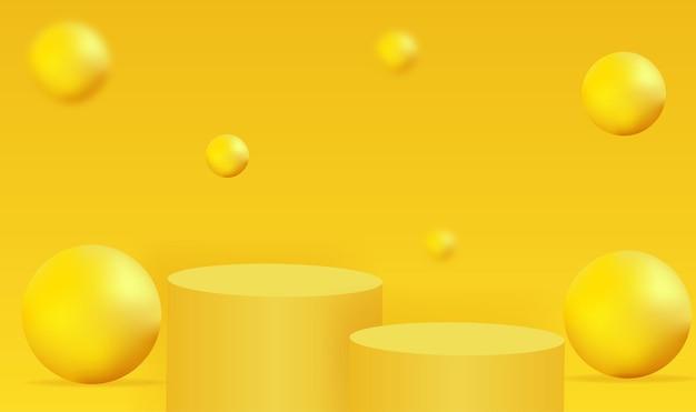 Forme géométrique de podium jaune minimaliste avec des bulles jaunes abstraites