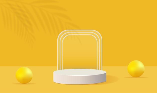 Forme géométrique de podium jaune minimaliste avec paume et ombre à bulles