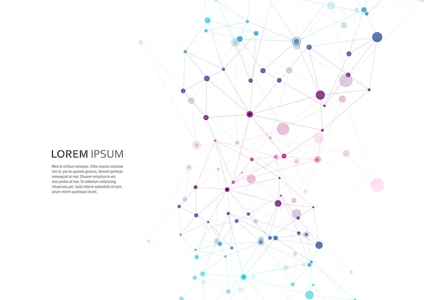 Forme géométrique polygonale abstraite avec modèle de style molécule structure