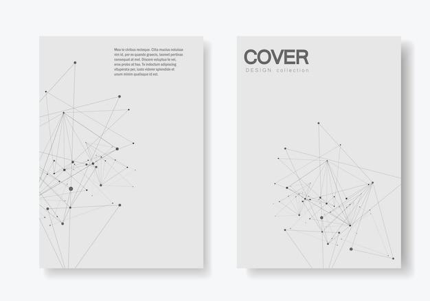 Forme géométrique polygonale abstraite avec style de structure de molécule. brochure de couverture connect lines and dots