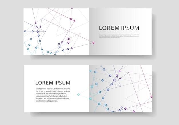 Forme géométrique polygonale abstraite avec style de structure de molécule, brochure de couverture des lignes et des points connect