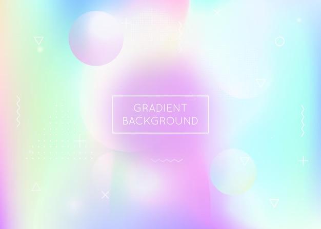 Forme holographique. dépliant de mouvement. points de memphis. bannière brillante. fond rond violet. texture géométrique. composition lumineuse magique. conception de hippie. forme holographique violette