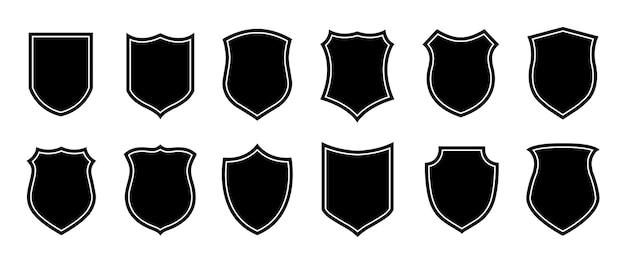 Forme d'insigne de police. silhouettes de bouclier militaire de vecteur. logo de sécurité