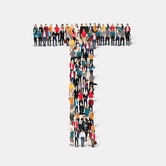 Forme de lettre de groupe de personnes t. groupe de points de foule formant une forme prédéterminée.
