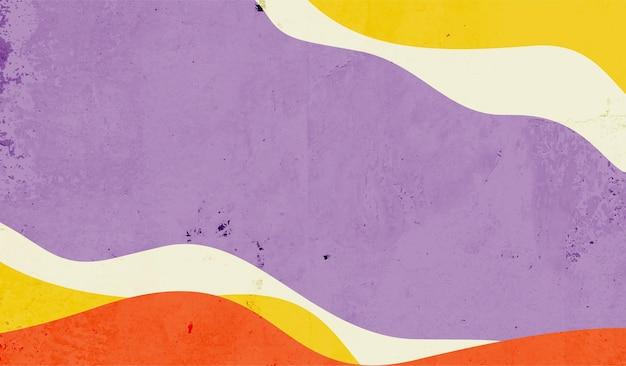 Forme de lignes ondulées abstraites peintes à la main colorées avec fond de texture