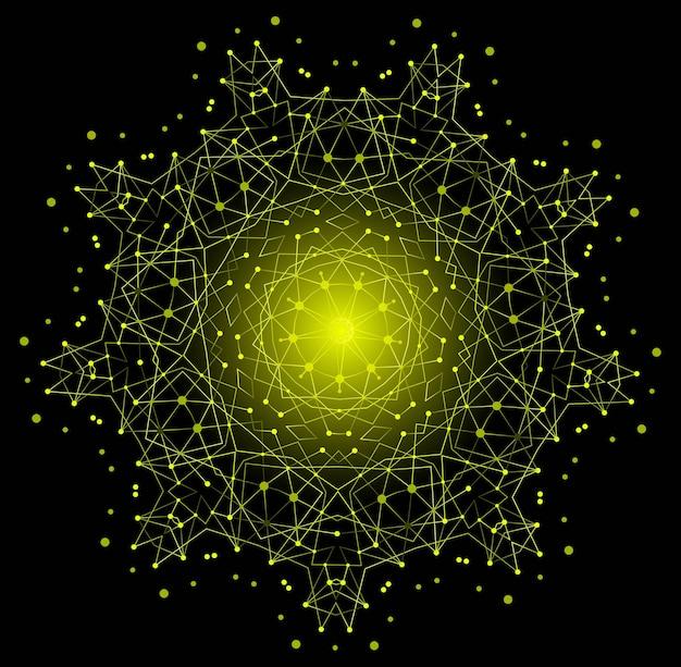 Forme lumineuse colorée de vecteur, structure moléculaire avec fond de lignes et de points.