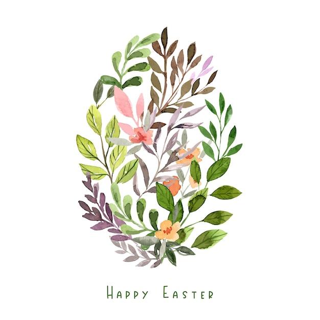 Forme d'oeuf composée d'éléments floraux. décoration de pâques. illustration aquarelle dessinée à la main.