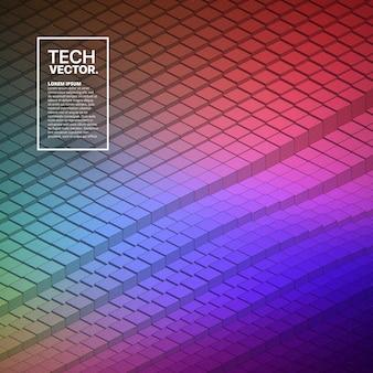 Forme d'onde technologique vecteur abstraite coloré fond clair.