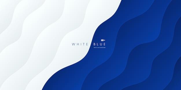 Forme ondulée abstraite sur fond de contraste de couche bleu et blanc couleur de l'océan de modèle de courbe moderne