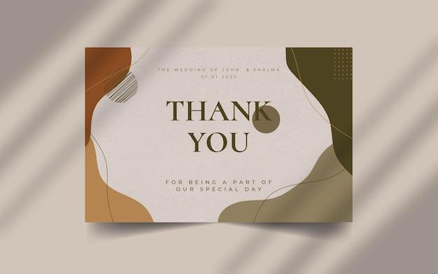 Forme organique abstraite avec modèle de carte de remerciement de mariage de texte modifiable