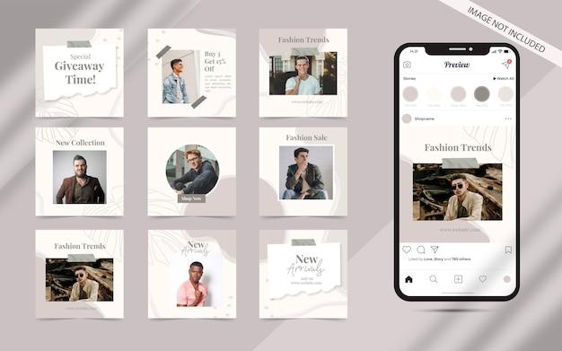 Forme organique abstraite pour l'ensemble de publications de médias sociaux de bannière de promotion de vente de mode instagram