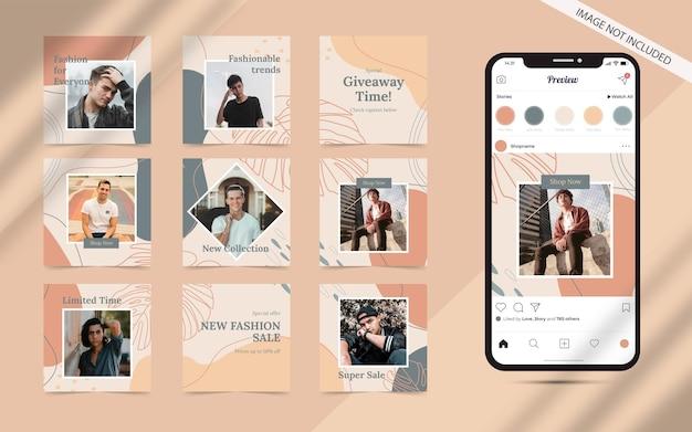 Forme organique avec ensemble abstrait de bannière de flux de publication de médias sociaux pour la promotion de vente de mode carrée instagram