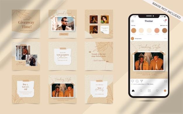 Forme organique avec ensemble abstrait de bannière de flux de publication de médias sociaux pour la promotion de vente de mode instagram