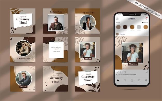 Forme organique pour les médias sociaux post ensemble abstrait de bannière de promotion de vente de mode instagram