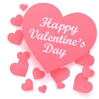 Forme de papier de coeurs sur fond blanc, amour pour la saint-valentin