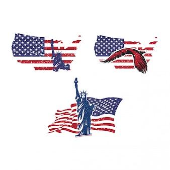 Forme de pays usa avec drapeau des états-unis d'amérique et statue de la liberté