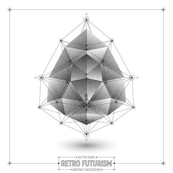 Forme polygonale abstraite de vecteur rétro futurisme