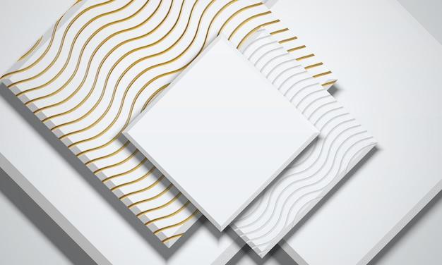 Forme de rectangles géométriques abstraits blancs et dorés qui se chevauchent en arrière-plan illustration vectorielle