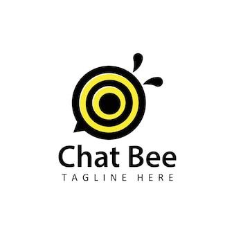 Forme ronde chat abeille logo illustration modèle vecteur de conception en arrière-plan isolé