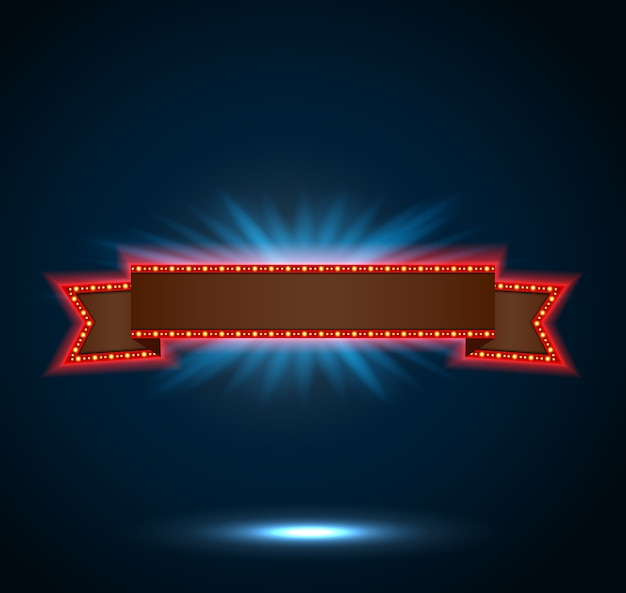 Forme de ruban de bannière rétro-éclairé rétro lumineux