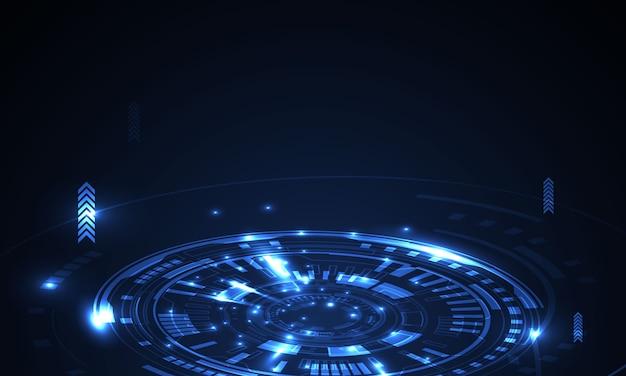 Forme de technologie géométrique abstraite du concept de lumière rougeoyante