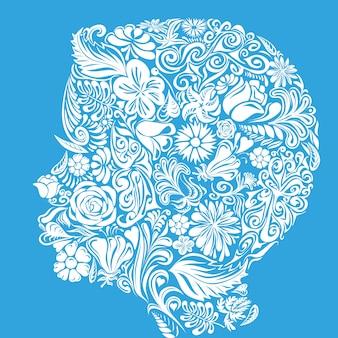 La forme de la tête de l'enfant se compose de fleurs