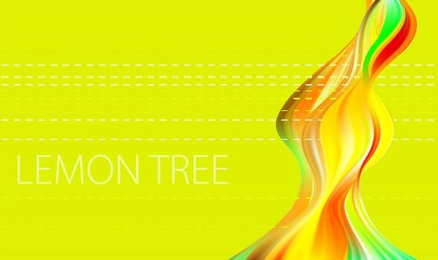 Forme tordue abstraite colorée sur fond jaune