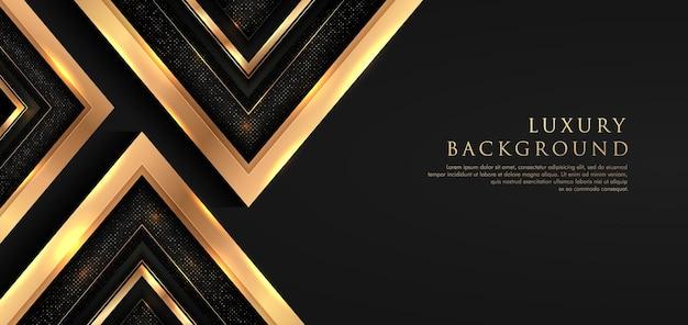 Forme de triangle de luxe se chevauchant sur fond noir avec des paillettes et des lignes dorées des combinaisons dorées de points lumineux.