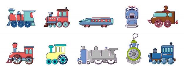 Former le jeu d'icônes. ensemble de dessin animé d'icônes de vecteur de train mis isolé