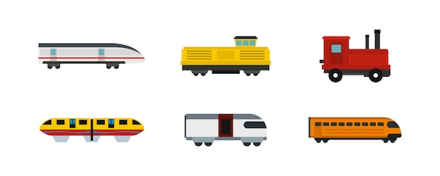 Former le jeu d'icônes. ensemble plat de collection d'icônes de vecteur de train isolé