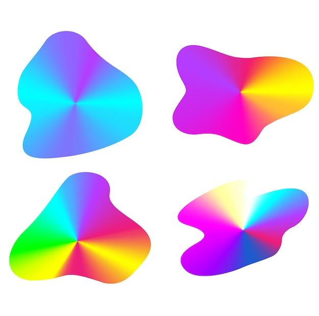 Formes abstraites d'arc-en-ciel de vecteur de gradient radial. éléments de conception d'affiche géométrique de simplicité. enseignes publicitaires néon années 80