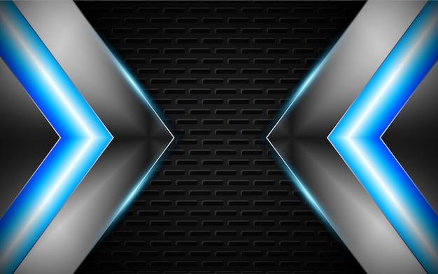 Formes abstraites argentées avec fond bleu néon clair