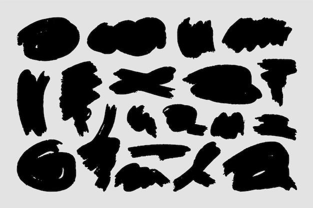 Formes abstraites de coups de pinceau d'encre