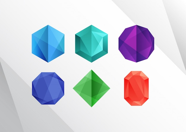 Formes abstraites de diamants colorés