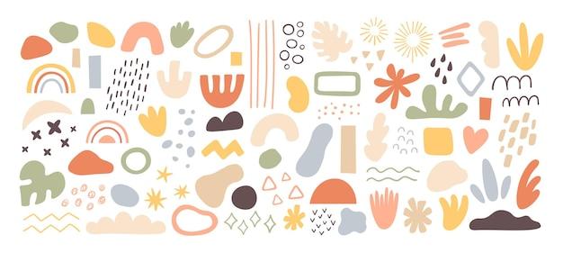 Formes abstraites et éléments. coups de pinceau, taches d'encre et textures grunge