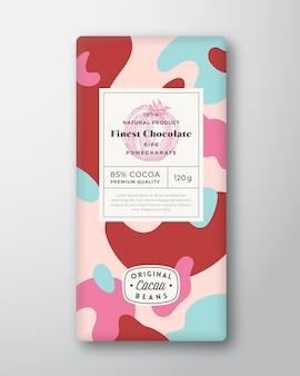 Formes abstraites d'étiquette de chocolat de grenade mise en page de conception d'emballage de vecteur