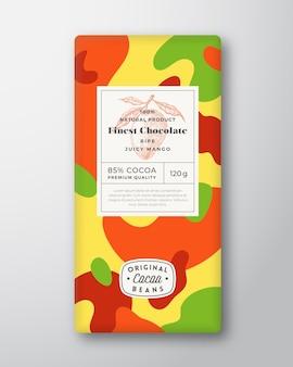 Formes abstraites d'étiquette de chocolat de mangue mise en page de conception d'emballage de vecteur