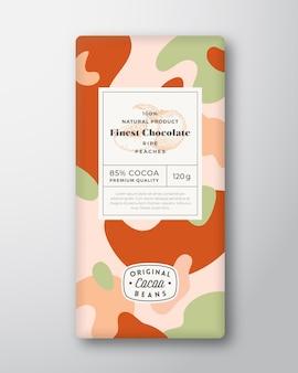 Formes abstraites d'étiquette de chocolat de pêche, disposition de conception d'emballage de vecteur avec mod d'ombres réalistes douces ...