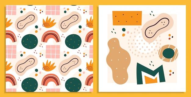 Formes abstraites, jeu d'illustrations de figures. cercles et rectangles, triangle, tache arts plats, collection de dessins. abstraction, motif sans soudure géométrique dessiné à la main isolé