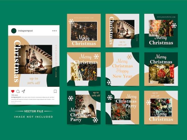 Formes Abstraites, Modèle De Publication De Médias Sociaux Pour Noël. Vecteur Premium