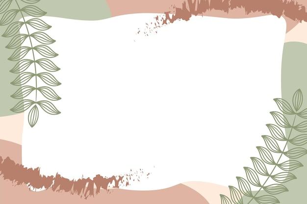 Formes abstraites modernes colorées de memphis vert brun pastel avec vecteur d'arrière-plans de feuilles