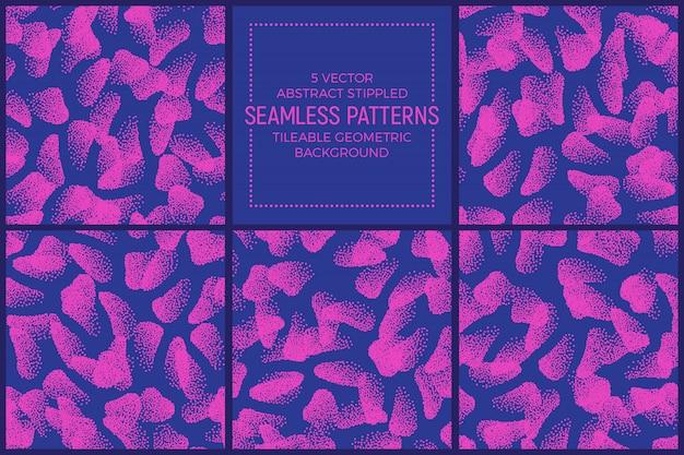 Formes abstraites pointillées bleues roses modèles sans couture