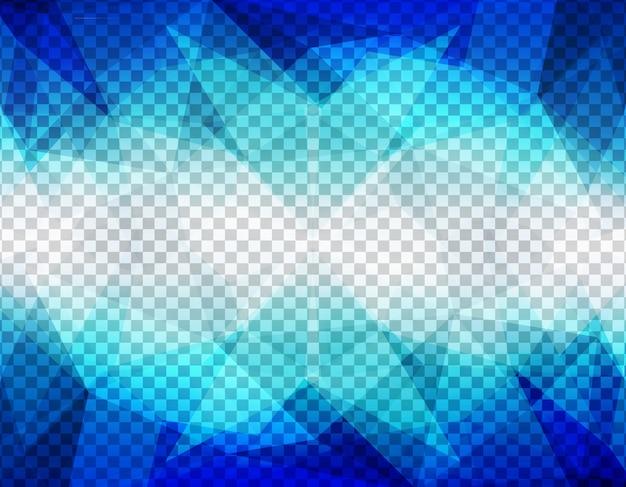 Formes abstraites polygonales bleues sur un fond transparent
